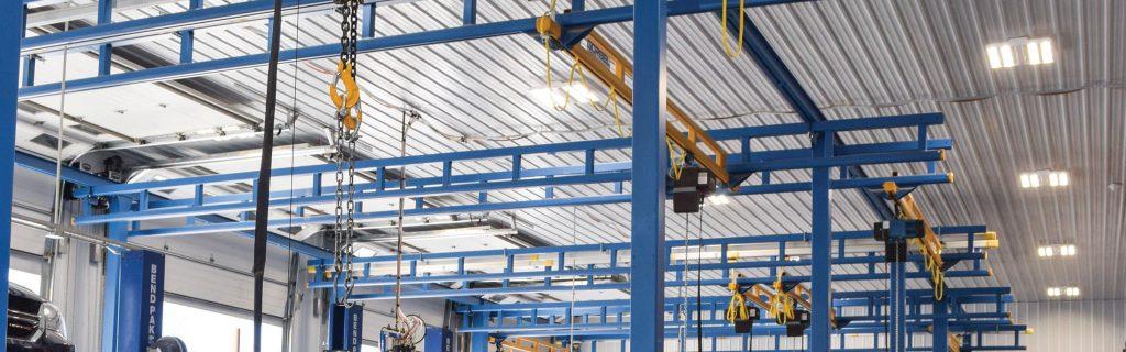 Gorbel Cranes in workshop