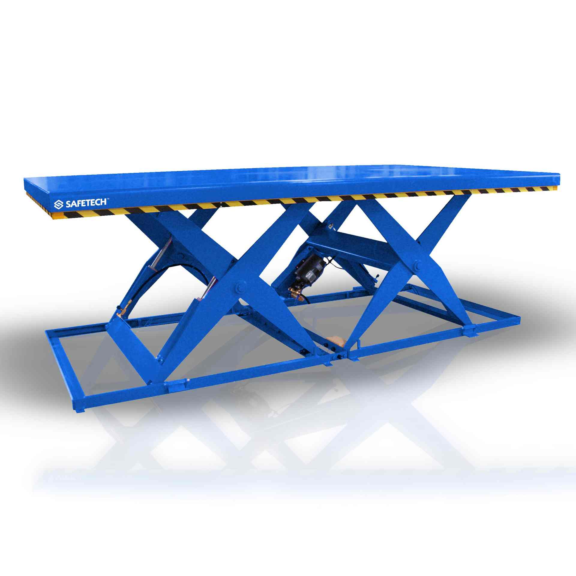 Scissor Lift Tandem Table Blue