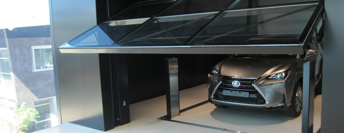 Safetech custom vehicle hoist for Lexus Showroom