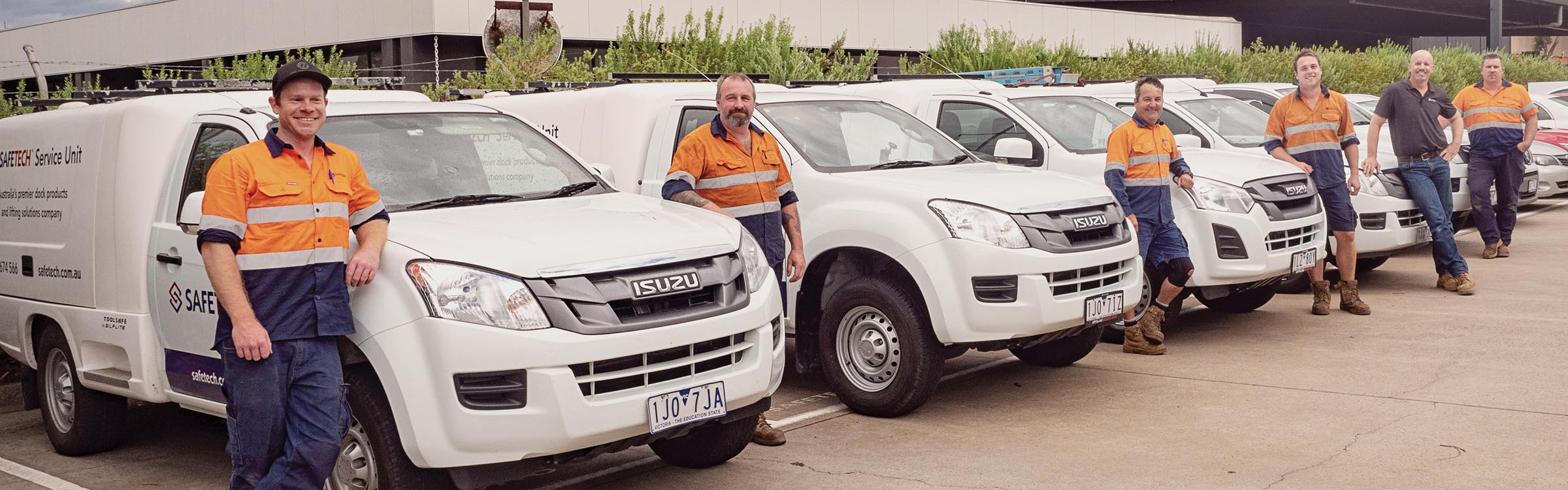 Safetech Service team with their vehicles